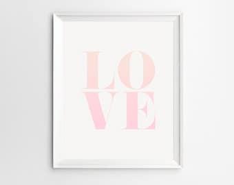Love Print, Pink Ombre Love Wall Art, Romantic Print, Love Wall Art, Typography Printable, Digital Download, Ombre Wall Art