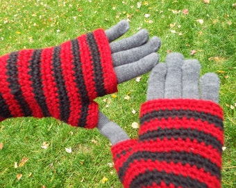 Two-Layer Striped Gloves, touchscreen gloves, fingerless gloves, double layer gloves, wrist warmers, womens gloves, winter gloves, crocheted