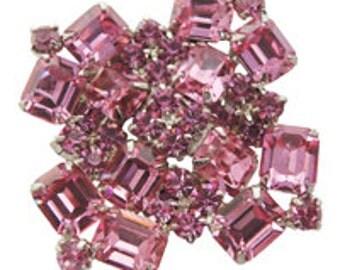 Hot Pink Rhinestone Brooch/Pin