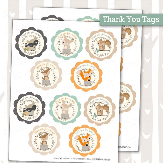 woodland baby shower thank you tags decorative woodland animals tags