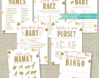 Pink and Gold Baby Shower Games Printable Package . Bundle 7 Games . Games Instant Download . Baby Shower Games Girl Printable