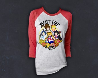 Sailor Scouts, Baseball Tee, Raglan Shirt, Anime, Sailor Stars, Planets, Sailor, Moon, Venus, Jupiter, Mars, Mercury, Fight Like A Girl