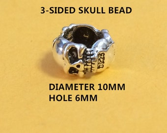 5 Sterling Silver 3-Sided Skull Beads, 6mm Hole Skull Bead, 925 Silver Skull Bead for Bracelet Necklace, Large Hole Skull Spacer Bead - E643