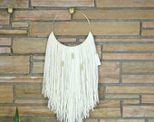 "Macrame Wall Hanging, White, Natural Fiber, Modern Wall Art  10"" Brass Ring + 3 Brass Accent (fiber art, nursery wall art)"