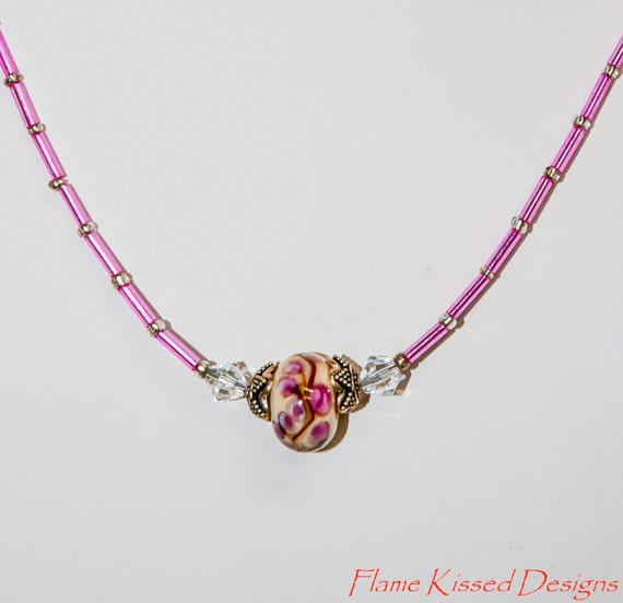 Handcrafted Artisan Lampwork Glass Bead Necklace