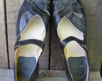Swedish Vintage Women's Shoes; Vintage Leather Shoes; Black Strap Shoes /  Lolita Shoes; Black Leather Retro Shoes UK 5.5 / US 8 / EU 39