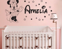Minnie Disney Personalized Girl Name Wall Decal - Custom Name Decals Baby Girl Disney Wall Decal Nursery Baby Room Decor