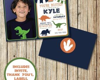 Dinosaur Invitation - Dinosaur Birthday Invitation - Dinosaur Photo Invitation - Dinosaur Birthday Party - Dinosaur Decorations - Printable