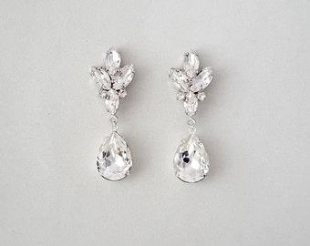 Bridal Earrings - Wedding Earrings, Teardrop Earrings, Crystal Earrings, Dangle Earrings, Wedding Jewelry - MAHLEA
