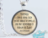 Happiness Can Be Found Quote Necklace Harry Potter Jewelry Albus Dumbledore quote Harry Potter necklace, potterheads, keychain