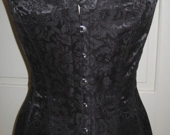 Rose Brocade Overbust Corset Victorian Steel Boned Many Color Choices Custom Sized