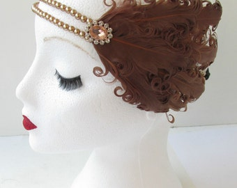Brown Feather Headpiece Vintage 1920s Flapper Pearl Headband Great Gatsby Elasticated Charleston Fascinator Headdress Dress L28