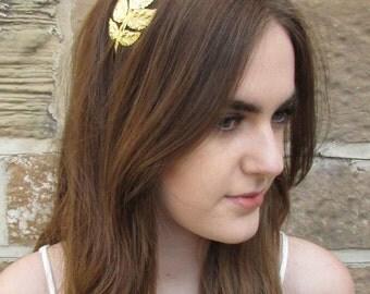 Gold Grecian Leaf Headband Vintage 1920s Leaves Tiara Bridal Boho Metal 30s L98 Woodland Wedding Roman Laurel Olive