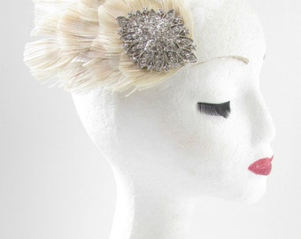 Silver & Ivory Rhinestone Feather Fascinator Hair Clip Vintage Bridal 1920s W39