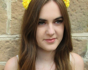 Yellow Rose Flower Hair Crown Headband Garland Small Festival Boho Vintage X-55