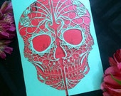 Day of the Dead Skull laser cut wedding invitation Detailed flowers dia de los muertos party