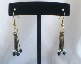 Black and Gold Spiral Dangle Earrings C167-904