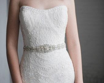 Pearl Wedding Belt | Crystal and Pearl Bridal Sash Belt | Rhinestone Wedding Dress Belt | THE SATIN PENELOPE