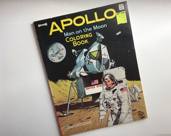 Collectible 1969 Apollo Man on the Moon Coloring Book ~ Vintage Uncolored Astronaut Coloring Book ~ Outer Space, Moon Landing, Science
