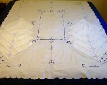 "Vintage White Embroidered Tablecloth & 8 Napkins, Rectangle White Blue Embroidered Tablecloth, 80"" X 64"" Rectangle White Tablecloth Napkins"
