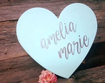 Large Baby Girl Nursery Sign   Heart Sign For Nursery   Baby Shower Gift   Personalized Name Sign   Girl Nursery   Baby Room Decor