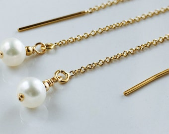 Simple Pearl Earrings, Gold Ear Chains, Gold Threader Earrings, Real Pearl Earrings, Gifts for Women, Gold Ear Threads, Wedding Jewelry