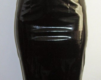 Black pvc pencil skirt