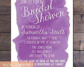 Purple Watercolor Bridal Shower Invitation