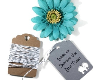 Grey Elephant Baby Shower Tags Set of 20 - Showering Our Little Peanut - Thank You Tags - Elephant Shower Gift Tags - Neutral Baby Shower