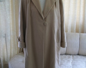Camel Swing Coat, 1940's, wool, Full Length, covered buttons, vintage