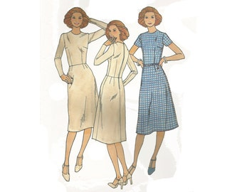 1960s woman basic shell dress pattern, Butterick 3006, size 16, round neck, sleeve variations, fitted, center back zipper, plus size, UNCUT