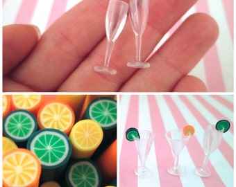 DIY Kit, 2 Miniature Dollhouse Wine Glasses for Decoden, Fake Food, and Doll Props, #DH52