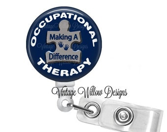 Occupational Therapy - Making A Difference Puzzle Piece (OT2) Retractable ID Badge Reel