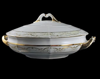 Covered Vegetable Bowl, Eamag Bavaria, 22K Gold Trim, Swags and Ribbons, Lidded Bowl, Serving Bowl