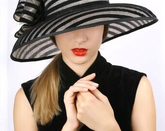 Ivory with black hat, wide brim hat, Summer sun hat, Kentucky derby hat, Wedding Party hat, Ascot hat, derby hat, cream black stripes hat