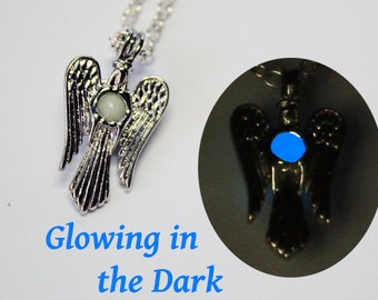 blue necklace gift/for/son blue jewelry gift/for/dad angel charm necklace wings jewelry white necklace gift/for/brother necklace Ся23г