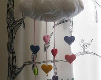 Cloud mobile with rainbow hearts and little bells
