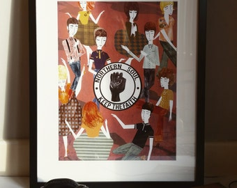 Northern Soul 'Keep The Faith' Illustration Poster A3