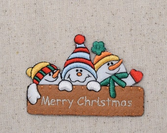 Snowman - Merry Christmas - Sign - Holidays - Iron on Applique - Embroidered Patch - 156093A