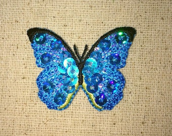 Small - Blue Sequin - Butterfly - Iron on Applique - Embroidered Patch - 155811A