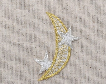 Crescent Moon - Silver and Gold - Stars - Iron on Applique - Embroidered Patch - 150214