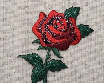 Red Rose - Open Petals and Stem - Flower - Iron on Applique - Embroidered Patch - 153101A