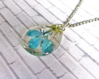 Real flower charm Blue flower necklace, Blue gift for girlfriend, Nature Gift for her, Floral charm necklace from Resin, Women gift in Blue