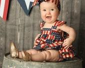 Baby Girl Romper| Romper & Headband Set | Stars | 4th of July | Baby Romper | America | Patriotic | Baby Headband | USA | Baby