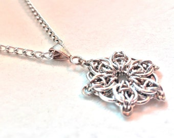 Silver Flower Chainmaille Pendant - Bright Aluminum - Celtic Star - Chainmail Jewelry