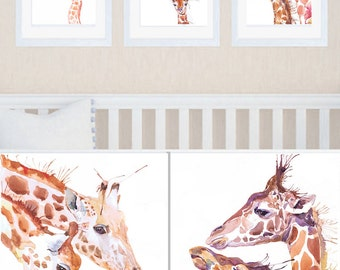 Giraffe Nursery Art Set of 3 prints Giraffe painting Watercolor Boy nursery decor Baby Girl  Three prints Giraffe art Safari nursery