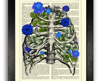 Art Print, Rib Cage Anatomy with Blue Flowers, Bedroom Wall Art Prints, Blue Home Decor, Anatomical Illustration Art Print