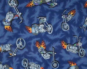 MOTORCYCLE Fabric By Yard, Half, Fat Quarter Biker Red Orange Flames Blue Lightning Storm Boys 100% Cotton Quilting Apparel BTY t3/35