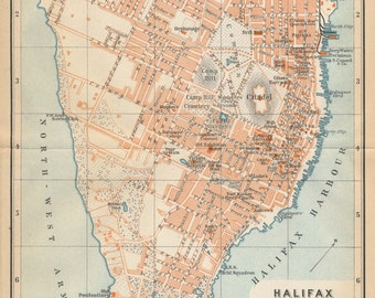 1907 Halifax Canada Antique Map