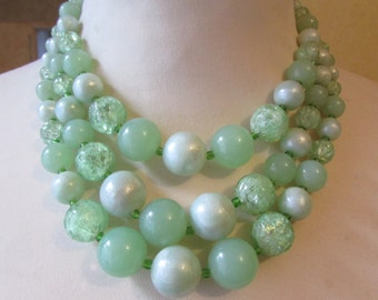 Mid-century assorted textured & smooth pale green beads triple strand necklace